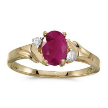 Certified 10k Yellow Gold Oval Ruby And Diamond Ring #51306v3