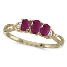 Oval Ruby and Diamond Three Stone Ring 14k Yellow Gold (0.75ctw) #53189v3