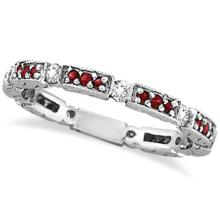 Eternity Diamond and Ruby Anniversary Band 14k White Gold (0.50ct) #53471v3