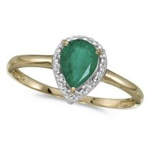 Pear Shape Emerald and Diamond Cocktail Ring 14k Yellow Gold #53096v3