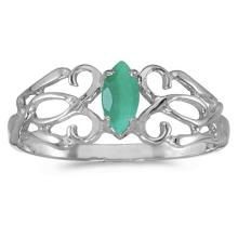 Marquise Emerald Filigree Ring Antique Style 14k White Gold #53093v3