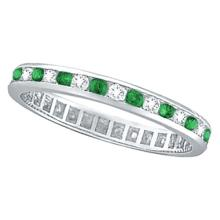 Emerald and Diamond Channel Set Eternity Band Ring Palladium (1.04ct) #53313v3