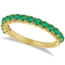 Emerald Semi-Eternity Ring Anniversary Band 14k Yellow Gold (1.09ct) #65005v3