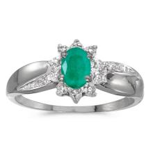 Certified 10k White Gold Oval Emerald And Diamond Ring #25588v3