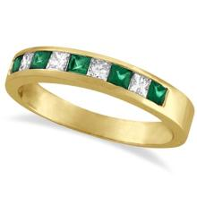 Princess-Cut Diamond and Emerald Ring Band 14k Yellow Gold (0.73ct) #53473v3