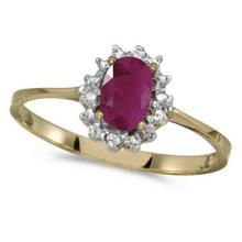 Ruby and Diamond Right Hand Flower Shaped Ring 14k Yellow Gold (0.55ct) #53185v3