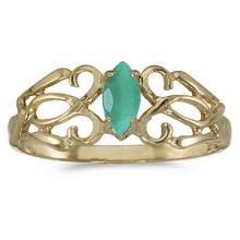 Marquise Emerald Filigree Ring Antique Style 14k Yellow Gold #53094v3