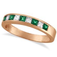 Princess-Cut Diamond and Emerald Ring Band 14k Rose Gold (0.73ct) #53474v3