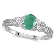Emerald and Diamond Antique Style Ring in 14K White Gold (0.45ct) #53091v3