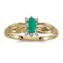 Certified 10k Yellow Gold Oval Emerald And Diamond Ring #51319v3