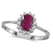 Ruby and Diamond Right Hand Flower Shaped Ring 14k White Gold (0.55ct) #53186v3