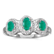Certified 14k White Gold Oval Emerald And Diamond Three Stone Ring #51326v3