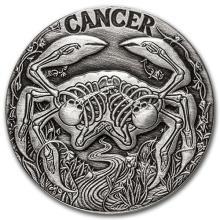 1 oz Silver Round Cancer - Zodiac Series #52679v3