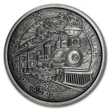 5 oz Silver Antique Round - Hobo Nickel Replica (The Train) #52657v3