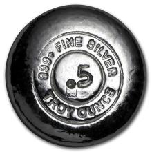 1/2 oz Silver Round - Yeager Poured Silver #52622v3