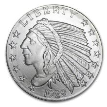 1/2 oz Silver Round - Incuse Indian #52573v3