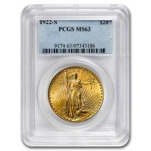 1922-S $20 St. Gaudens Gold Double Eagle MS-63 PCGS #52541v3