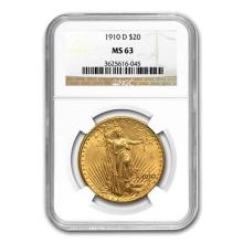 1910-D $20 St. Gaudens Gold Double Eagle MS-63 NGC #52527v3