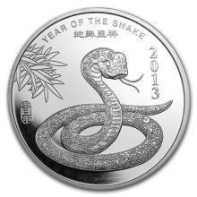 1 oz Silver Round -(2013 Year of the Snake) #52591v3