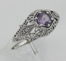 Art Deco Style Amethyst Filigree Ring w/ 4 Diamonds - Sterling Silver #97474v2