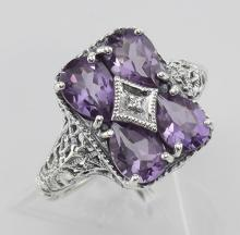 Four Stone Amethyst Filigree Ring - Sterling Silver #97479v2