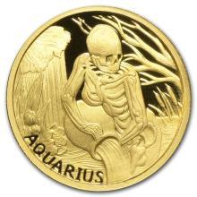 1/10 oz Gold Round Zodiac Series - Aquarius #22502v3