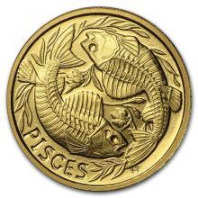 1/10 oz Gold Round Zodiac Series Pisces Proof #22506v3