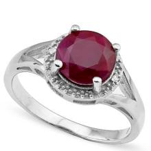2.4 CTW GENUINE RUBY and GENUINE DIAMOND PLATINUM PLATED .925 STERLING SILVER RING #99405v2