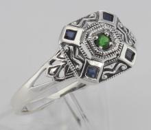 Sapphire / Emerald Filigree Ring - Deco Style - Sterling Silver #98568v2