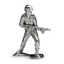 Silver Army Figurine - Flamethrower Silver Soldier #21861v3
