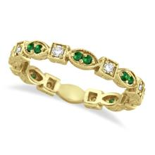 Emerald and Diamond Eternity Ring Anniversary Band 14k Yellow Gold #21272v3