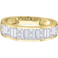 14KT Yellow Gold 0.50CTW ROUND BAGGUETTE PRINCESS DIAMOND LADIES BAND #55704v2