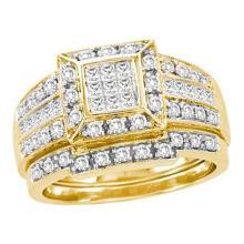 14K Yellow-gold 1.00CTW DIAMOND INVISIBLE BRIDAL SET #55532v2