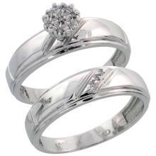 10k White Gold Diamond Engagement Ring Set 2-Piece 0.06 cttw Brilliant Cut, 7/32 inch 5.5mm wide #15423v3