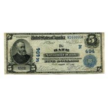 1902 $5 National Banknote Bath ME Charter #494 Fine #28704v3