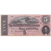 $5 1864 Confederate Note Richmond VA XF-AU #28838v3
