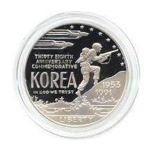 US Commemorative Dollar Proof 1991-P Korean War #28962v3
