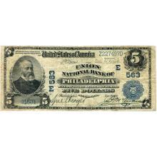 1902 $5 National Bank Note Philadelphia PA Charter #563 Fine #28705v3