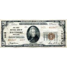 1929 $20 National Banknote Baltimore MD Charter #1413 Fine #28784v3