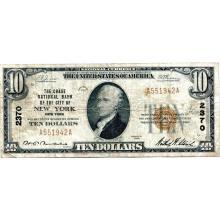 1929 $10 National banknote New York NY Charter #2370 Fine #28773v3