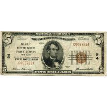 1929 $5 National Bank Note Port Jervis NY Charter #94 Fine #28741v3