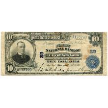 1902 $10 National Bank Note New York NY Charter #29 Fine #28746v3