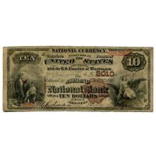 1882 $10 National Banknote Ashland KY Charter #2010 VG #28742v3