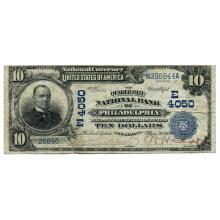 1902 $10 National Bank Note Philadelphia PA Charter #4050 Date Back Fine #28756v3