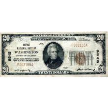 1929 $20 National Banknote Washington DC Charter #9545 VF #28788v3