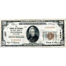 1929 $20 National Banknote Frederick MD Charter #1267 VF #28783v3
