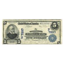 1902 $5 National Banknote Wellesley MA Charter #7297 Fine #28714v3
