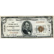 1929 $5 National Bank Note Carrollton OH Charter #11714 VF #28718v3