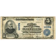 1902 $5 National Bank Note New York NY Charter #11034 Fine #28716v3