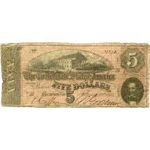 $5 1864 Confederate note Richmond VA VG #28836v3